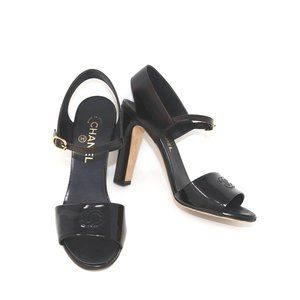 38 Patent Leather CC Embroidered Metallic Leather